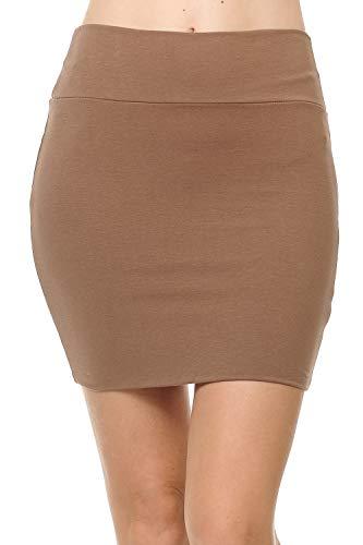 Fashion Aktiv Basic Double-Layer Cotton Simple Stretchy Tube Pencil Mini Skirt (Small, Dark Mocha)
