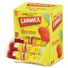 Carmex Mini Bin, Lip Balm Stick, Cherry, 24/BX, Sold as 1 Box