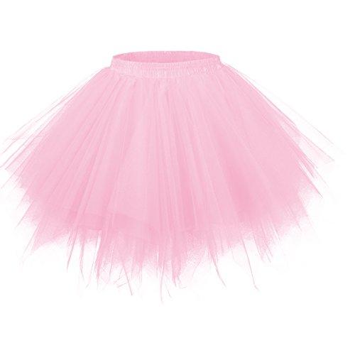Girstunm Women's 1950s Vintage Petticoats Bubble Tutu Dance Half Slip Skirt Pink 2XL
