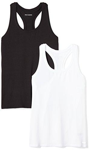 Amazon Essentials Women's 2-Pack Tech Stretch Racerback Tank Top, Black/White, Small (Top Womens Racerback)