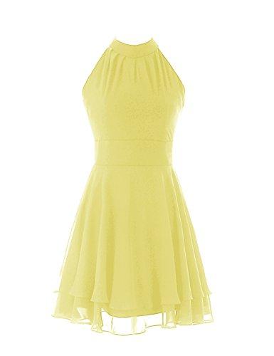 Dressystar Girls A-line Round Brought Short Chiffon Homecoming Dresses Size 2 Yellow