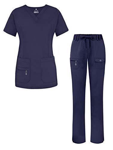 Adar Pro Breakthrough Plus Scrub Set for Women - Enhanced V-Neck Top & Multi Pocket Pants - 4400 - Navy - 3X