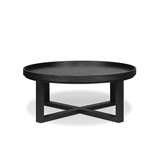 Benzara Round Shaped Wooden Coffee Table With Sliding Reversible