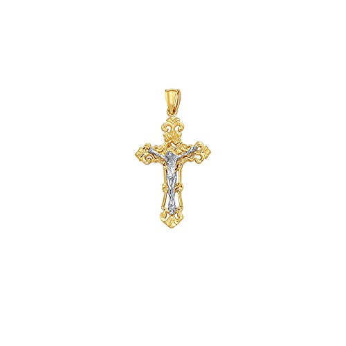 14k Yellow Figurine (14k Yellow Gold Polish Finish Cross Figurine Pendant)