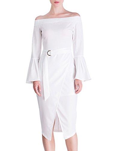 DISBEST Women's Midi Dresses Elastic Off Shoulder Horn Sleeve Slim Party Evening Dress,White,M/US 6