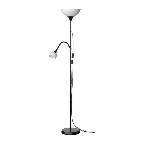 Ikea not tall black floor lamp uplighter with reading lamp
