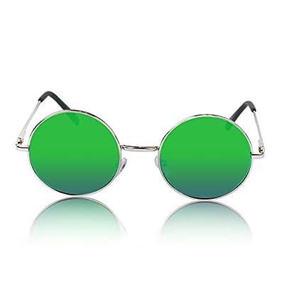 SunnyPro Round Sunglasses Circle Retro Hippie Flat Mirrored Lens Glasses UV400