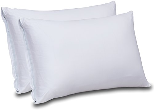 Cotton Sateen Zippered Pillow Cases - 2 Pack (King, White) - Sateen Pillow Cover for Maximum Softness - Easy Care, Elegant Double Hemmed Stitched Pillow Encasement, 300 Thread Count by Utopia Bedding
