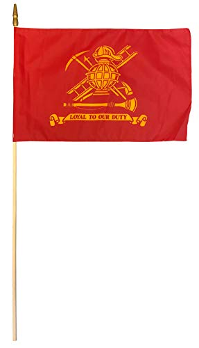 Firefighters - 12 in x 18 in Fire Department Stick Flag