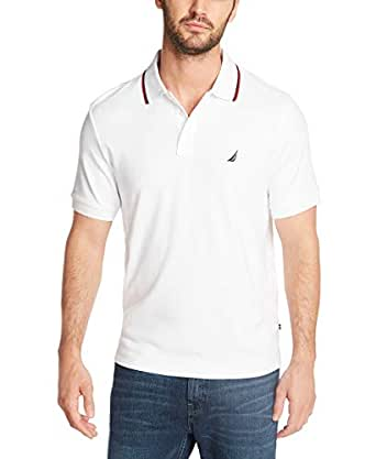 Nautica Men's Classic Fit Short Sleeve Dual Tipped Collar Polo Shirt, Bright White, Small