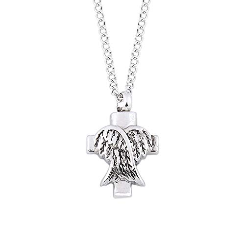 OutTop(TM) Clearance Angel Wings Shaped Pendant Ashes Memorial Can Open The Urn Necklace Jewelry Birthday Gift for Women (Silver)
