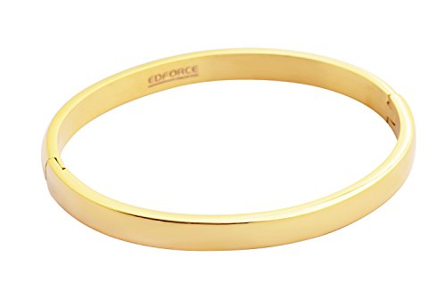 Edforce 18k Gold Plated Women's Oval Shaped Smaller Sized Wrist Stackable Bangle Bracelet Slip-On, (58mm x 49mm) (Gold Bracelet Stackable)