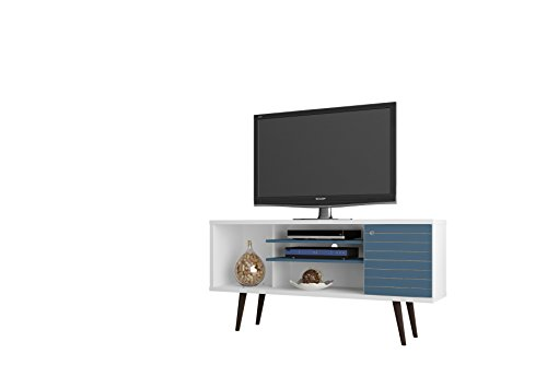 Manhattan Comfort Liberty Collection Mid Century Modern TV Stand With One Cabinet and Two Open Shelves With Splayed Legs, White Blue
