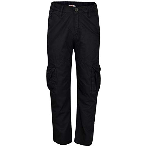 Kids Boys Youth BDU Ranger 6-Pocket Black Combat Cargo Trouser Fashion Pant 5-13