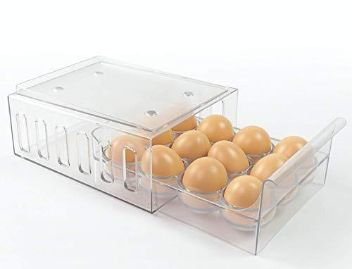 Foxko Egg Holder, Refrigerator Storage Organizer for Kitchen, Stackable Container, 12 Eggs