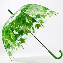 Leaves Cage Umbrella Transparent Rainny Sunny Umbrella Parasol Cute Umbrella Women Cute Clear Paraguas (Green