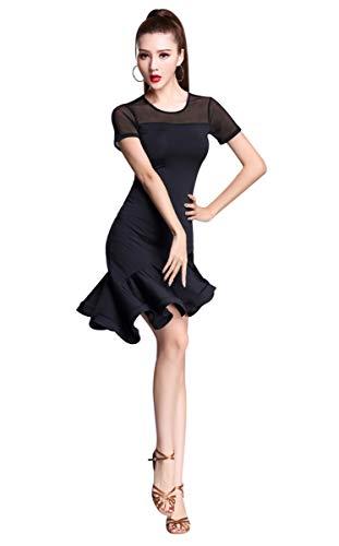 ZX Women's Latin Dancewear Mesh Neck Short Sleeve Swallowtail Rumba Salsa Dance Dress (Tag XL, Black) -