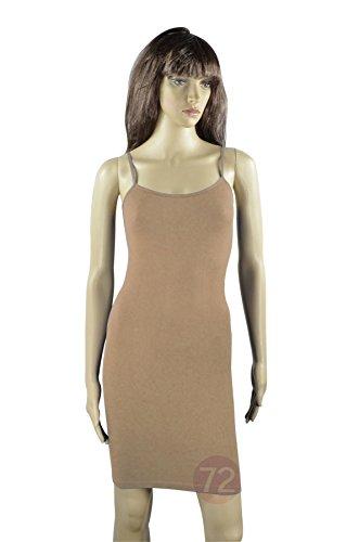 Yelete Nylon Seamless Long Cami Slip Dress (One Size, Camel) Camel Slip