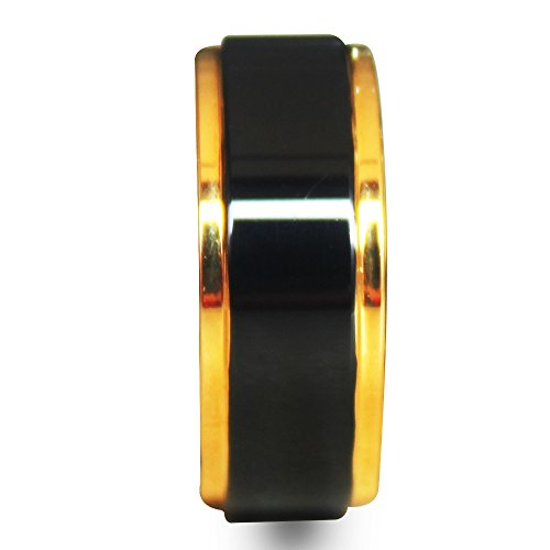 Plated Gold Edges Highly Polished Black Tungsten Carbide Ring 8mm (9.5)