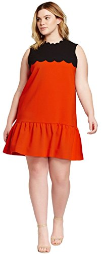 Victoria Beckham - Victoria Beckham Orange & Black Drop Waist Scallop Trim Dress (2X)