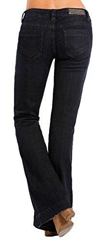 Low Rise Trouser Flare Jean - Rock & Roll Cowgirl Women's Dark Wash Low Rise Trouser Western Jeans, 27 x 34