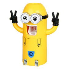 Insasta Cute Two Eyes Minion Automatic Toothpaste Dispenser Plastic Toothbrush Holder