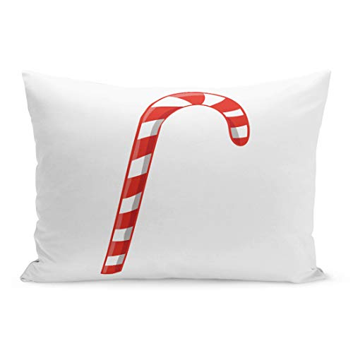 Semtomn Throw Pillow Covers Red Celebration for New Year Candy Cane Christmas Dessert Eat Food Pillow Case Cushion Cover Lumbar Pillowcase Decoration for Couch Sofa Bedding Car 20 x 36 inchs