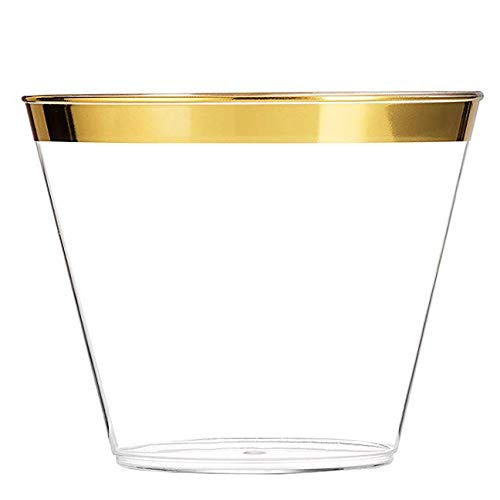 The Best Brands 100 Bulk Value Set Wedding Plastic Cups 9 oz Clear, Elegant Gold Rimmed, Disposable Heavy Duty, Fancy Reusable Tumblers, Anniversary Party, Receptions, Holiday Occasions