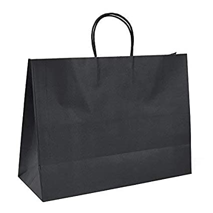 GSSUSA 16x6x12 25pc Black Kraft Paper Bags with Handles for Shopping, Grocery, Mechandise, Party, Gift Bags