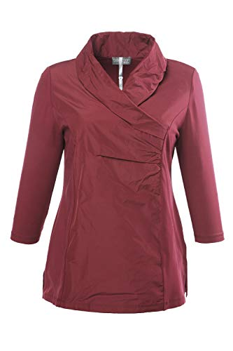- Ulla Popken Women's Plus Size 3/4 Sleeve Slim Fit Tafetta Accent Top Dark Red 28/30 698675 50