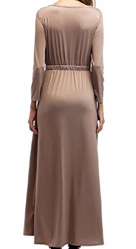 Les Femmes Coolred Forme Funky Et Flare Robe Volantée Western Solide De Couleur Kaki