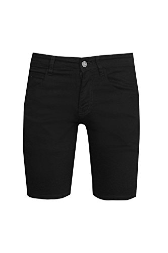 Boohoo Mens Skinny Stretch Denim Shorts In Black Size 32
