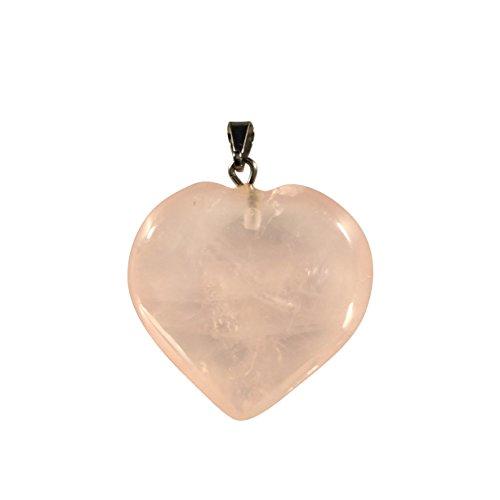 Rose Quartz Heart Shaped Pendant - Crystal Clear Miracles Healing - Powerful Handmade - Perfect Gift (Celestial Quartz Light)