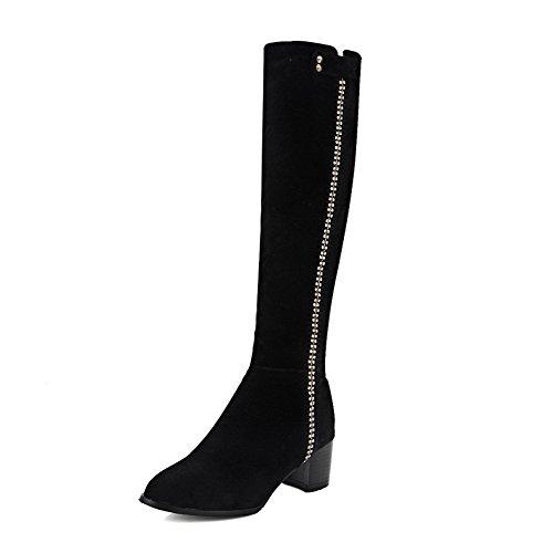 AgooLar Damen Mittler Absatz Rein Reißverschluss Stiefel mit Beschlagene Strass, Schwarz, 36