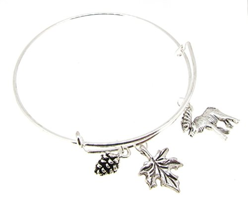(Bangle Bracelet Silver Expandable Canada Maple leaf Moose Acorn )