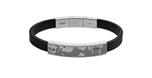 Emporio Armani EGS2294060 Black Rubber Bracelet with Grey-Camo SSteel Plate with Gift Box (Armani Bracelet)