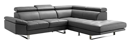 Moe's Home Collection Andreas Right Leather Sectional Sofa, Grey