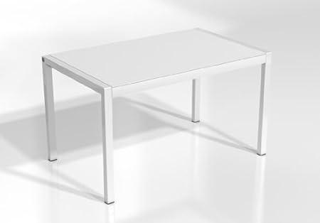 MESA EXTENSIBLE CONCEPT - Encimera Cristal Blanco Mate/Patas Blanco, 110X70 cms: Amazon.es: Hogar