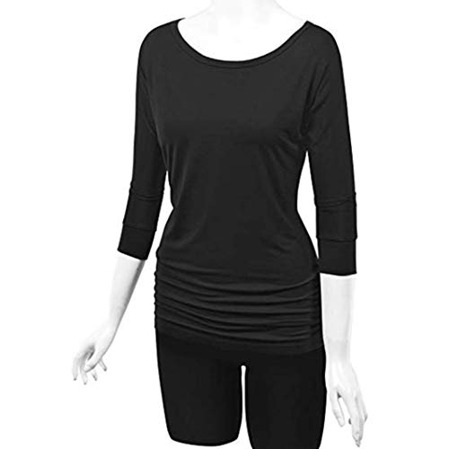 Tops Sleeve Shirring Needra Women Petite Blouse Black fold Teen Side Long with O Neck Girls EqUER