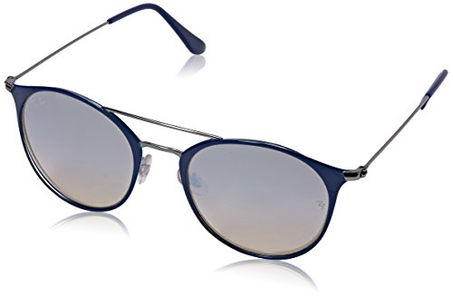 Ray-Ban Steel Unisex Round Sunglasses, Gunmetal Top Blue, 52 - Ray Ban Sunglasses Top Gun