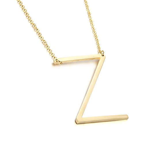 MEMGIFT Z Big Letter Necklace Stainless Steel Initial Pendant Best Friends Jewelry for Girls Women Her Wedding Birthday Christmas Steel 14k 18k 22k 24k Real Gold Plated Name Long Chain Pendant ne (Names For Two Best Friends)