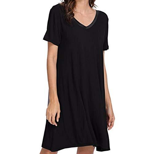 RAINED-Womens Cotton Nightgown Short Sleeve Sleep Nightdress Scoopneck Sleep Tee Nightshirt Lace Trim Sleep Shirt - Shaper Marilyn Monroe Body