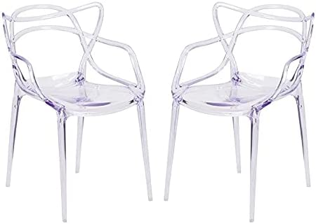 """Aron Living Monte 18"""" Mid-Century Plastic Dining Chairs in Clear (Set of 2)"""