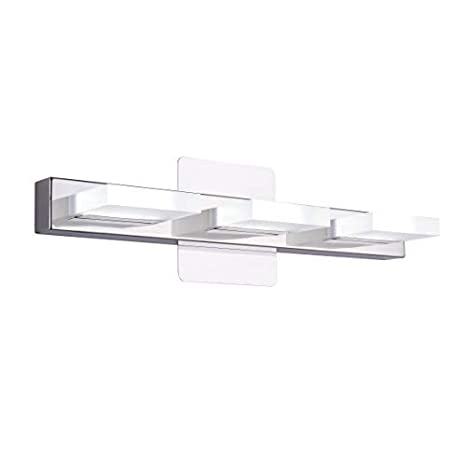 cheap for discount d1ed1 76ce9 mirrea 18in Modern LED Vanity Light in 3 Lights Stainless Steel and Acrylic  16w Cold White 5000K