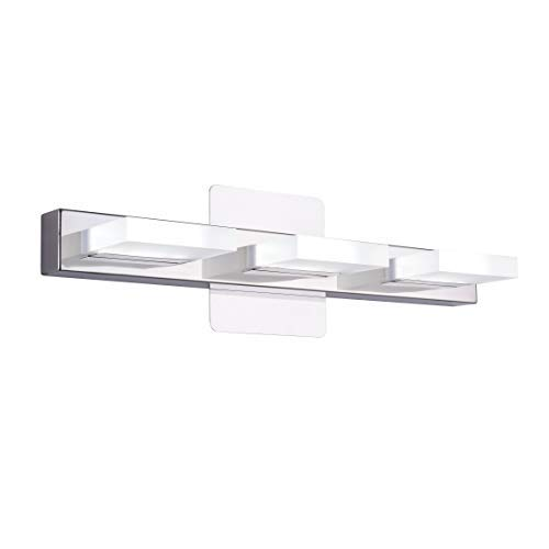 mirrea 18in Modern LED Vanity Light in 3 Lights Stainless Steel and Acrylic 16w Cold White 5000K