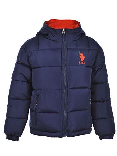 US Polo Association Boys' Little Reversible Bubble Jacket, Navy/Orange, 7