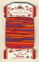 Olympus Sashiko Thread Multi Color Mix - 100% cotton, 12 meters, ombre colorway #M10 (gold, orange, hot pink, purple)