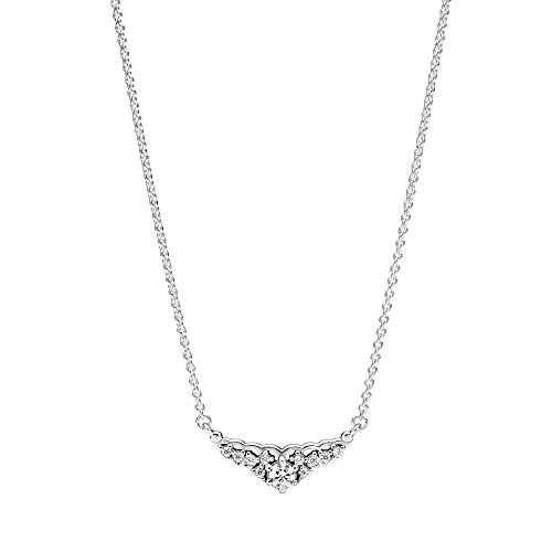 Pandora Fairytale Tiara Necklace, Clear CZ, Adjustable Sizes 396227CZ-45 Centimeters 17.7 Inches