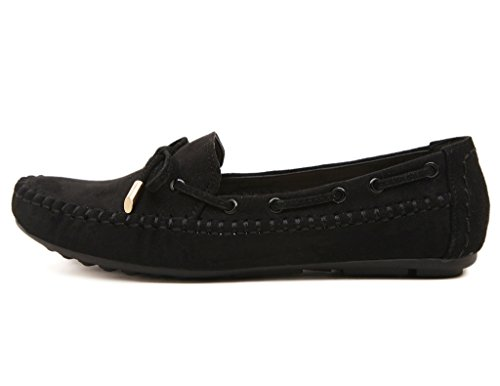 Moccasins JDS Fortuning's Suede Leather Loafers Bean Black Shoes Women's WIFqrFTnH