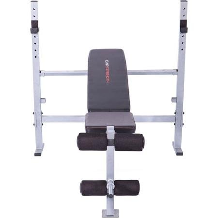 Home Gym Strength Mid-width Weight Exercise Barbell Bench | Fitness Equipment Includes a Leg Extension, Adjustable Uprights and a 2 Position Back Pad by Home Gym